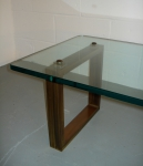 glass and gilded metal coffee table