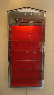 chrome and glass display case