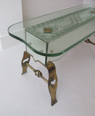 etched glass and gilded iron occasional table