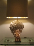 coral and gilt metal table lamp