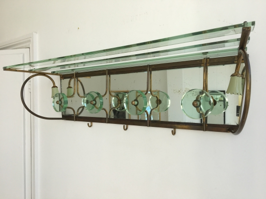 glass and gilt metal coat rack